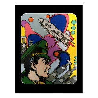 Cartão Postal Abstrato atômico a pintura do capitão de Rocket em
