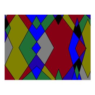 Cartão Postal Abstrato colorido retro do diamante