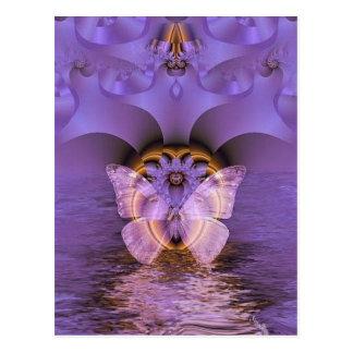 Cartão Postal Abstrato roxo da borboleta