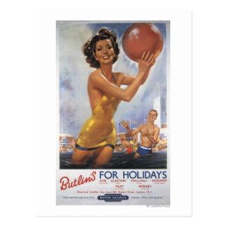 Cartão Postal Acampamentos de Ava Gardner Butlin idêntico