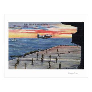 Cartão Postal Ação a bordo do porta-aviões - marinho dos E.U.