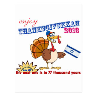 Cartão Postal Acção de graças e Hanukkah.  Thanksgivukkah