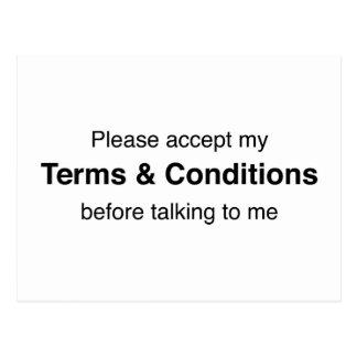 Cartão Postal Aceite por favor meus termos & circunstâncias
