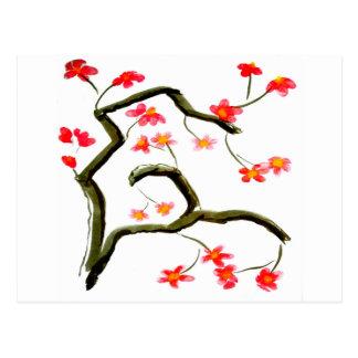 Cartão Postal Acento vermelho das flores de cerejeira
