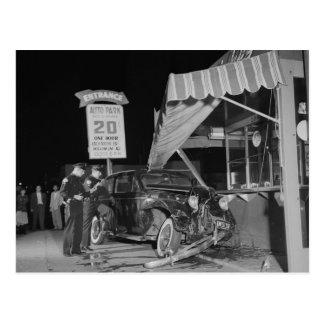 Cartão Postal Acidente de Traffice, vintage 1951 de Los Angeles