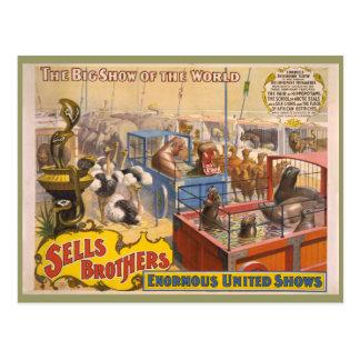 Cartão Postal Adam Forepaugh e poster do circo dos irmãos das
