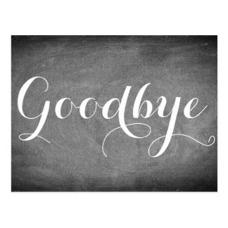 Cartão Postal Adeus branco do preto da tipografia da escrita