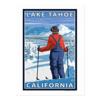 Cartão Postal Admiração do esquiador - Lake Tahoe, Califórnia