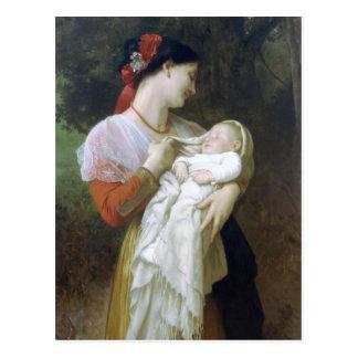 Cartão Postal Admiração materna por William Adolfo Bouguereau