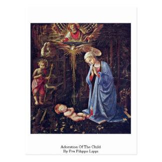 Cartão Postal Adoração da criança por Fra Filippo Lippi