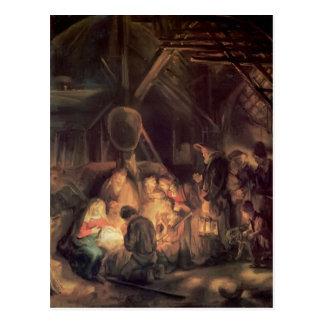 Cartão Postal Adoração de Rembrandt dos pastores
