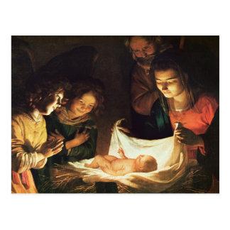 Cartão Postal Adoração do bebê, c.1620