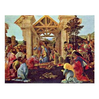 Cartão Postal Adoração dos Magi (Washington) por Botticelli