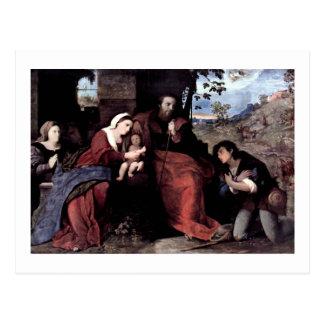 Cartão Postal Adoração dos pastores com um doador
