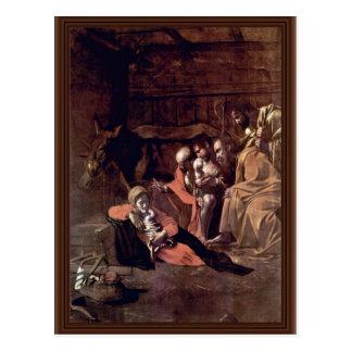 Cartão Postal Adoração dos pastores por Michelangelo Merisi