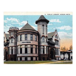 Cartão Postal Adrian, Michigan, biblioteca de Carnegie, vintage