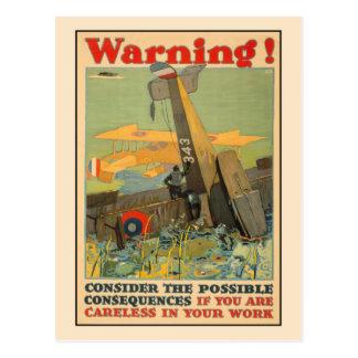 Cartão Postal Advertir, seja cuidadosa no trabalho