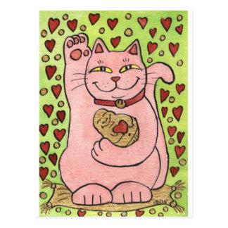 Cartão Postal Afortunado no amor: Neko cor-de-rosa com corações
