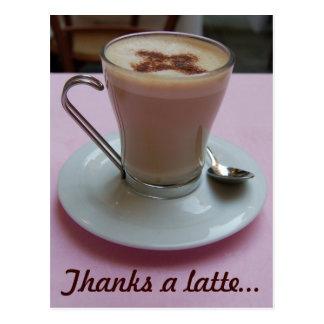 Cartão Postal Agradece a um latte