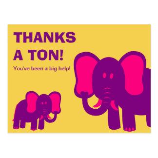 Cartão Postal Agradece a um obrigado bonito dos elefantes