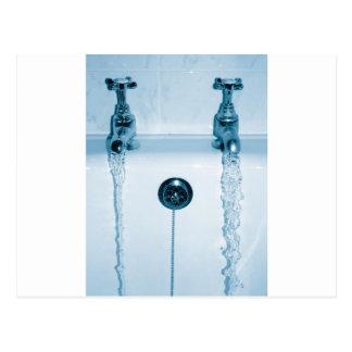 Cartão Postal Água quente & fria, tempo do banho, torneiras