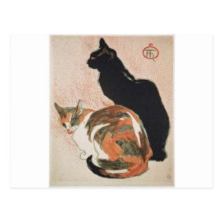Cartão Postal Aguarela - 2 gatos - Théophile Alexandre Steinlen