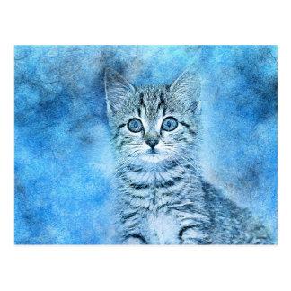 Cartão Postal Aguarela azul do abstrato | do gatinho | do gato