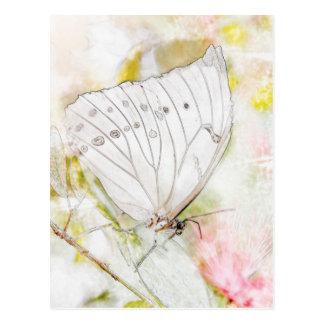 Cartão Postal Aguarela branca da borboleta