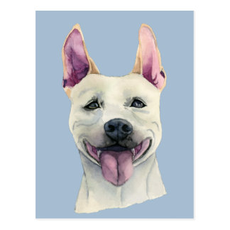 Cartão Postal Aguarela branca do cão de Staffordshire bull