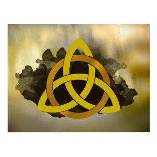 Cartão Postal Aguarela celta do ouro do nó da trindade