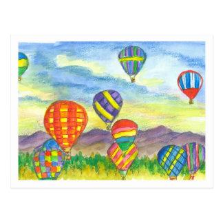 Cartão Postal Aguarela colorida dos balões de ar quente