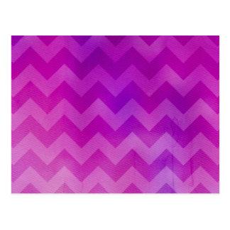 Cartão Postal Aguarela cor-de-rosa Ombre Chevron