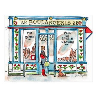 Cartão Postal Aguarela de BOULANGERIE 28 Paris