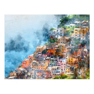 Cartão Postal Aguarela de Cinque Terre Italia