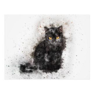 Cartão Postal Aguarela do abstrato | da beleza | do gato preto