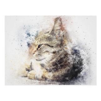 Cartão Postal Aguarela do abstrato | do amor | do gato malhado