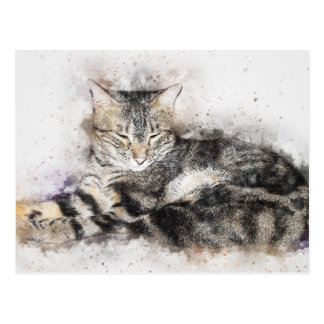 Cartão Postal Aguarela do abstrato | do gato malhado | do tempo