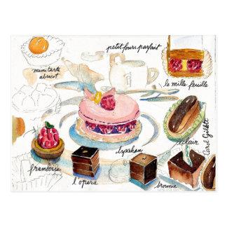 Cartão Postal Aguarela do esboço da pastelaria de Paris