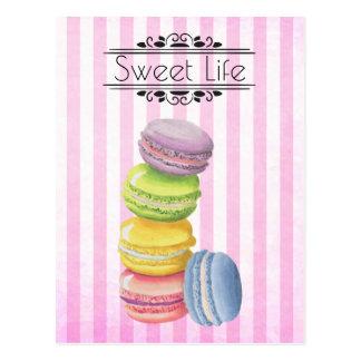 Cartão Postal Aguarela do Pastel da pastelaria francesa de
