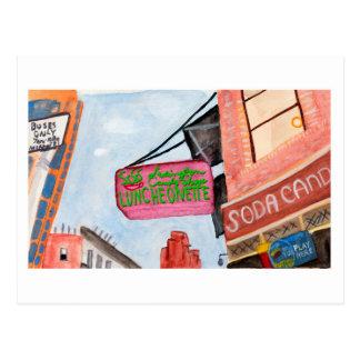 Cartão Postal Aguarela do sinal da loja de canto de Manhattan