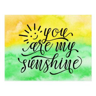 Cartão Postal Aguarela do verde amarelo você é minha luz do sol