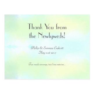 Cartão Postal Aguarela elegante do azul do amarelo dos Newlyweds