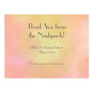 Cartão Postal Aguarela elegante do rosa do amarelo dos Newlyweds