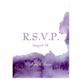 Cartão Postal Aguarela elegante ultravioleta que Wedding RSVP