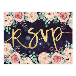 Cartão Postal Aguarela floral & roteiro do ouro que Wedding a