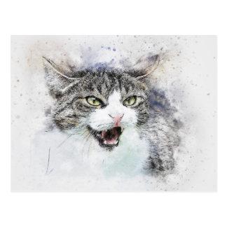 Cartão Postal Aguarela irritada do abstrato   do gatinho  
