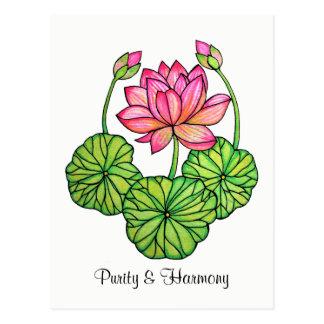Cartão Postal Aguarela Lotus cor-de-rosa com botões & folhas