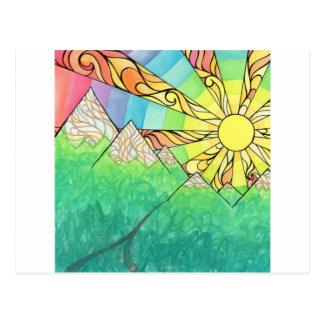 Cartão Postal Aguarela & marcador abstratos do ajuste de Sun do