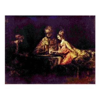 Cartão Postal Ahasuerus e Haman no banquete de Esther