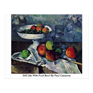 Cartão Postal Ainda vida com a bacia de fruta por Paul Cezanne